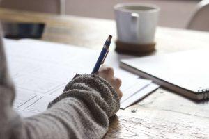 Woman's hand writing