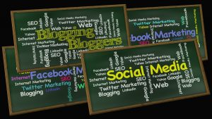 Blackboards covered with social media types and names
