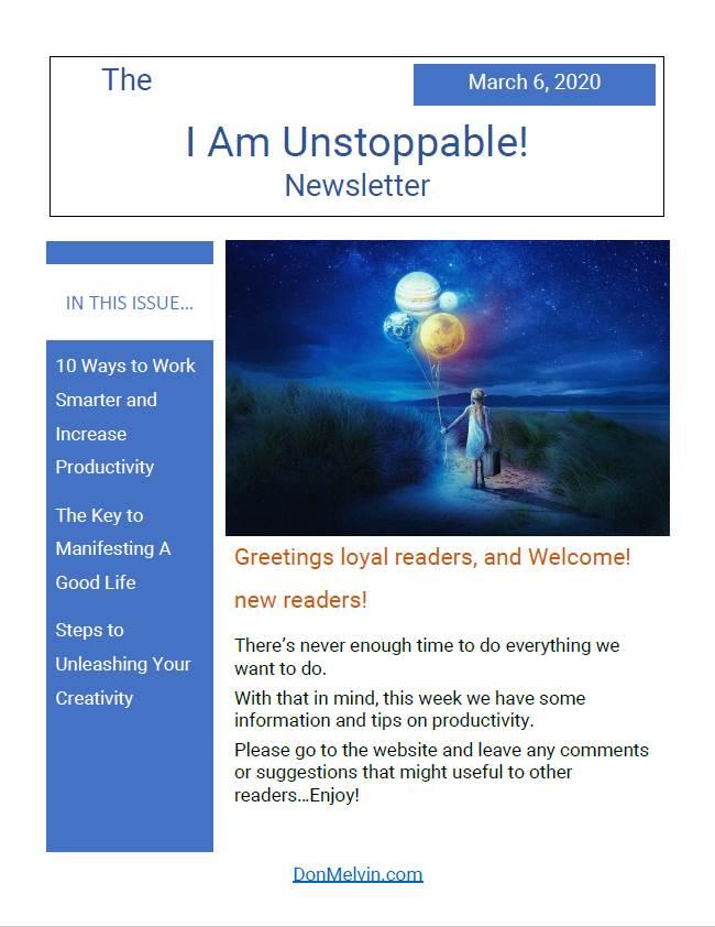 """""""I Am Unstoppable"""" Newsletter 2020-03-06"""